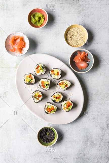 Cauliflower rice sushi nori set on a plate