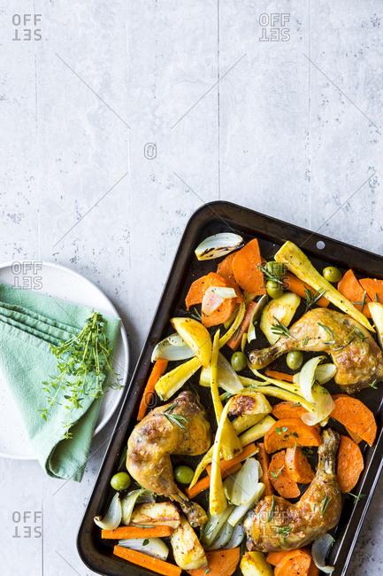 Chicken vegetable sheet pan tray bake