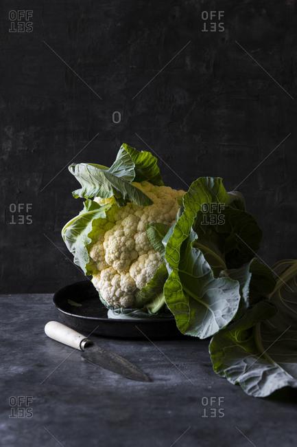 Whole raw cauliflower dark