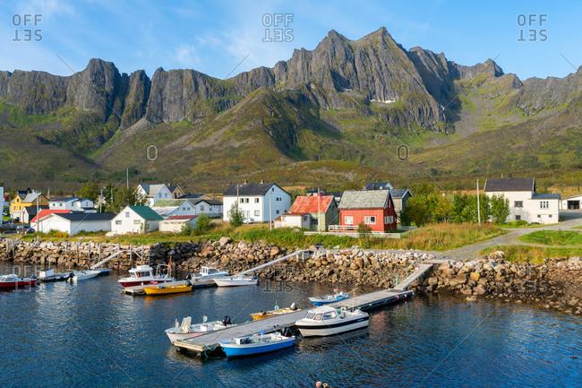 September 3, 2016: Boats and huts, Senja Island, Troms, Norway