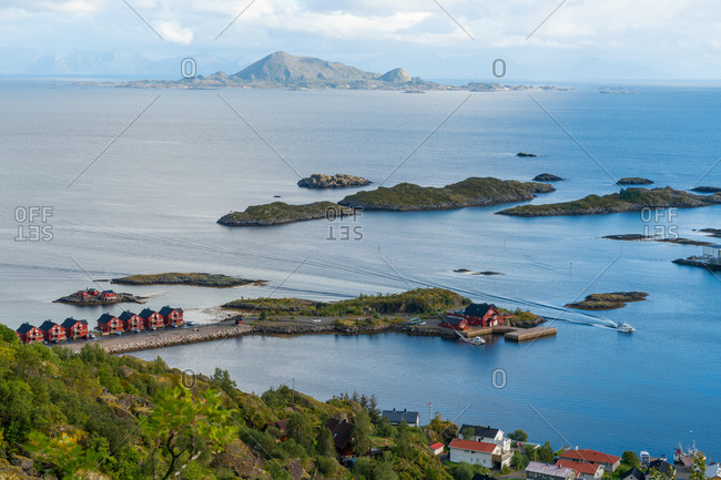 View over Henningsvaer and Islands, Austvagoy, Nordland, Norway