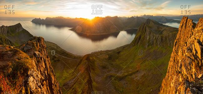 Sunrise over mountains & fjord, Senja Island, Tromso, Norway