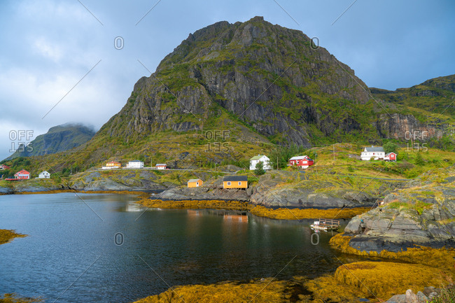 Red and orange wood huts on the Lofoten islands, Norway