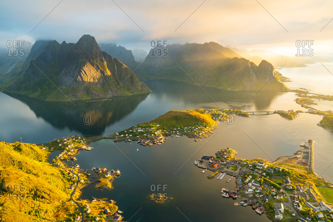 View from above of the village of Reine in the Lofoten Islands, Norway.