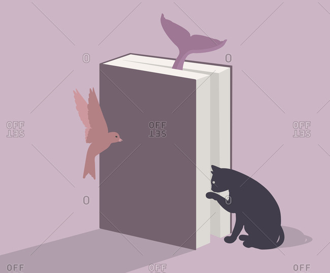 Book surrounded by animals