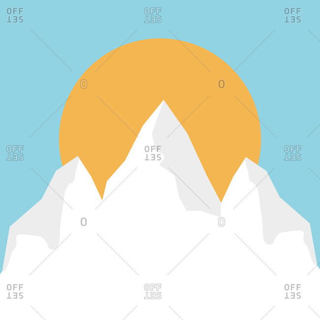 Snowy mountains and sun