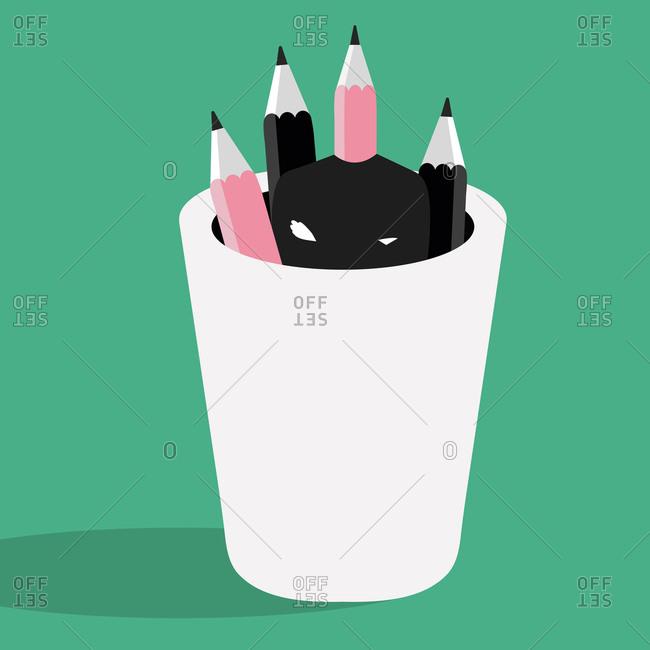 Pencils in black jar with headless man
