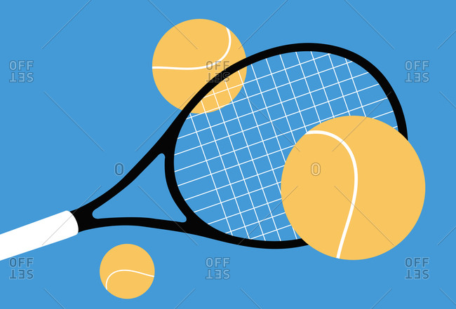 Tennis racket with three balls