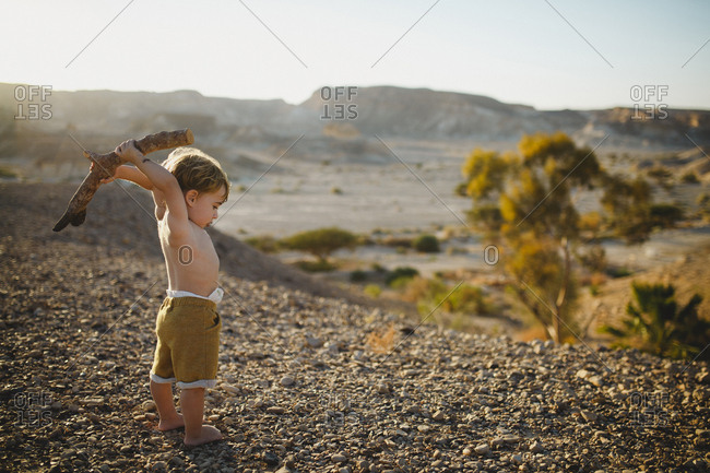 Toddler boy standing in desert raising a branch in the air
