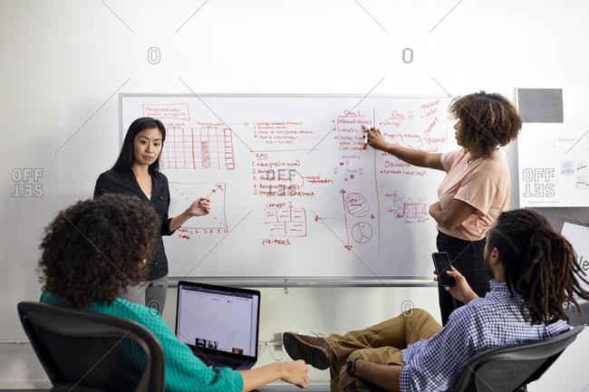 Business people brainstorming in meeting at office