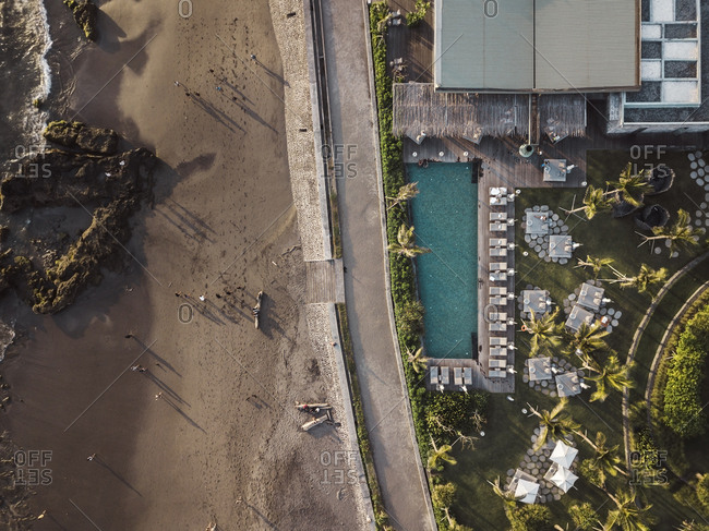 Aerial view of the hotel on the coast