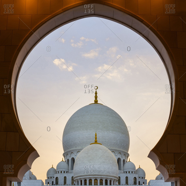 Dome of Sheikh Zayed Mosque Framed in Entrance Archway