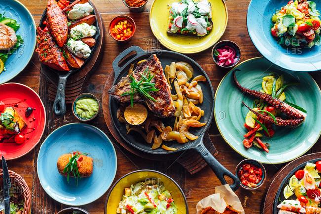 Table full of spanish cuisine food