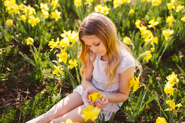Blonde girl sitting in a field of daffodils