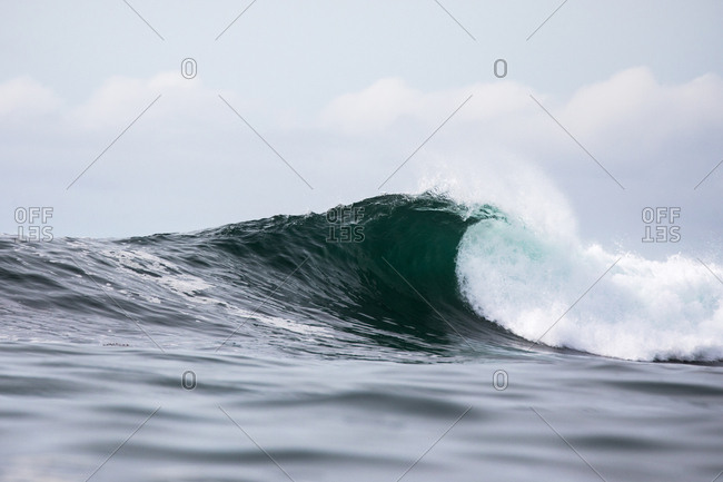 Large cresting wave in the ocean under cloudy skies