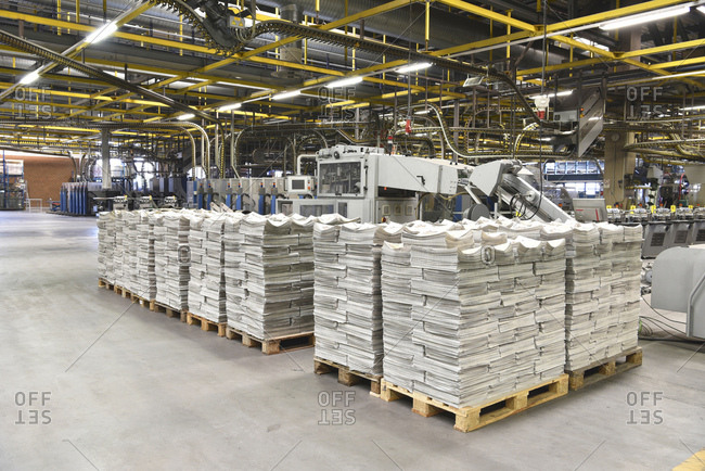 Printing shop- newspapers on pallets