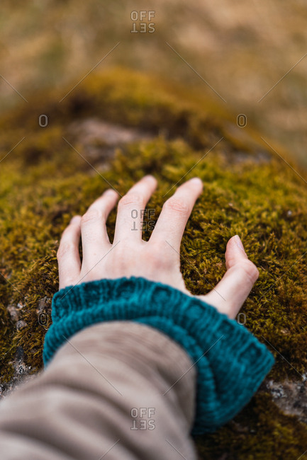 Crop female hand in warm clothes touching stone with green moss on Faroe Islands