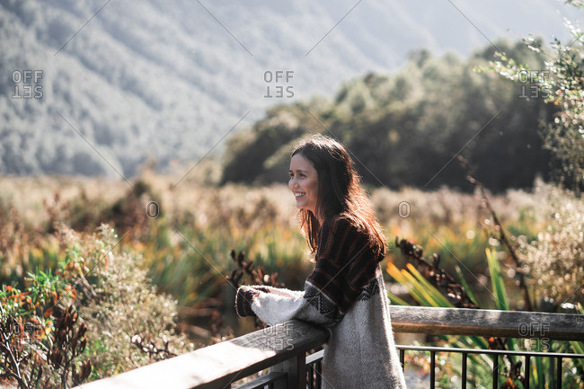 Woman enjoying view of nature