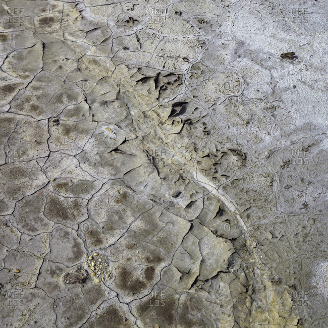 From above dry brown rock surface in cracks
