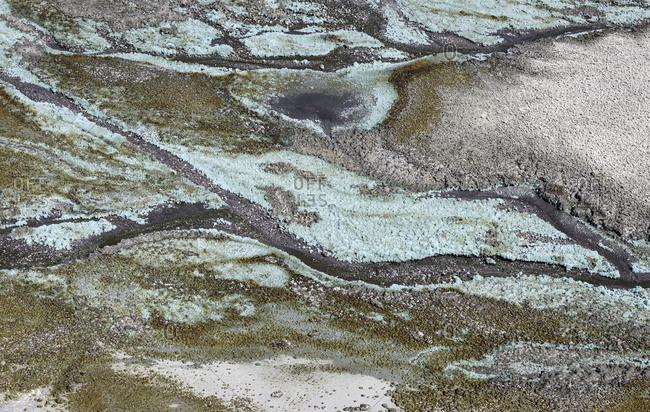 From above blue rusty mountain streaks in Mines of Riotinto Huelva