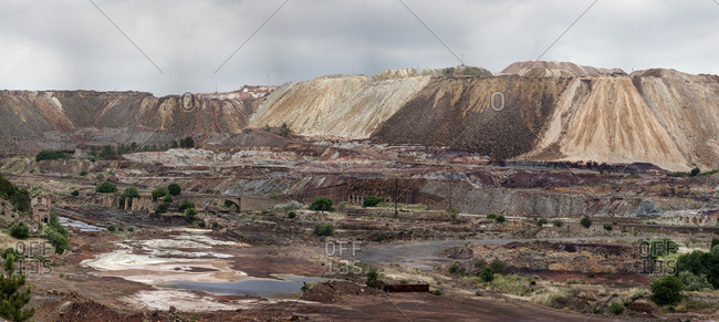 Rocky landscape in early morning in Mines of Riotinto, Huelva
