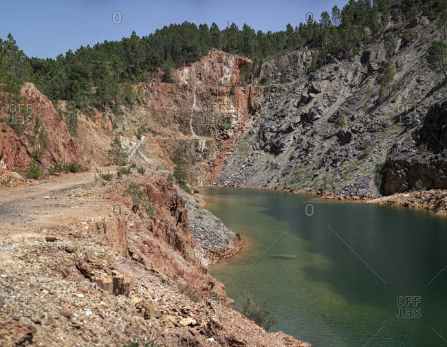 Landscape view of green water river in valley of Riotinto, Huelva in Spain