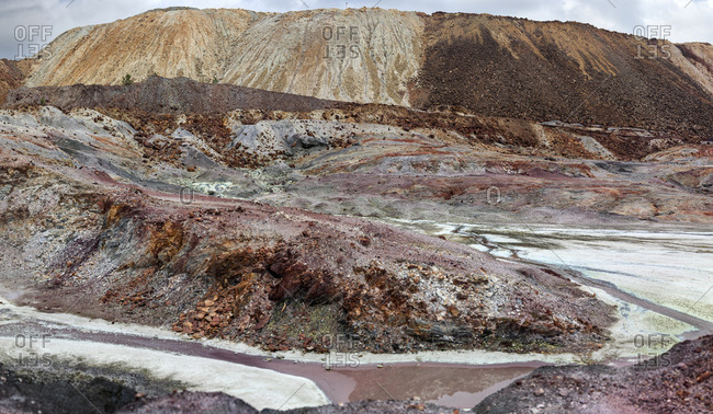 Landscape view of mining terraces in hills of Riotinto, Huelva