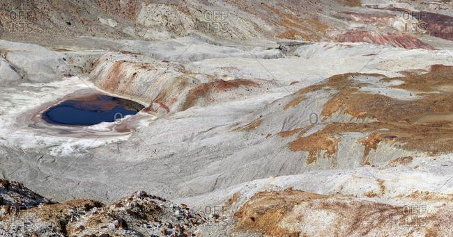 Landscape view of mining terraces in hills of Riotinto, Huelva