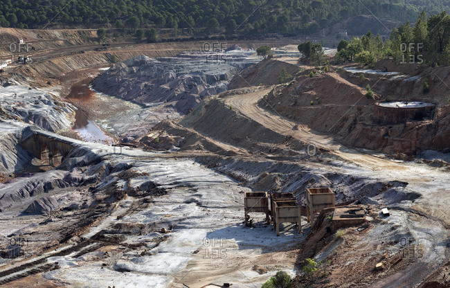 Landscape of old mining structures in Riotinto Huelva Spain