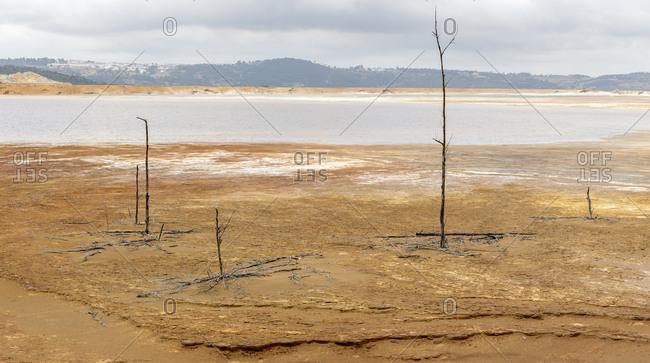Dry channel of river stream in Riotinto, Huelva