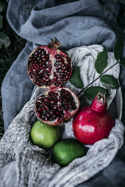 Various fruits lying on fabric on grass
