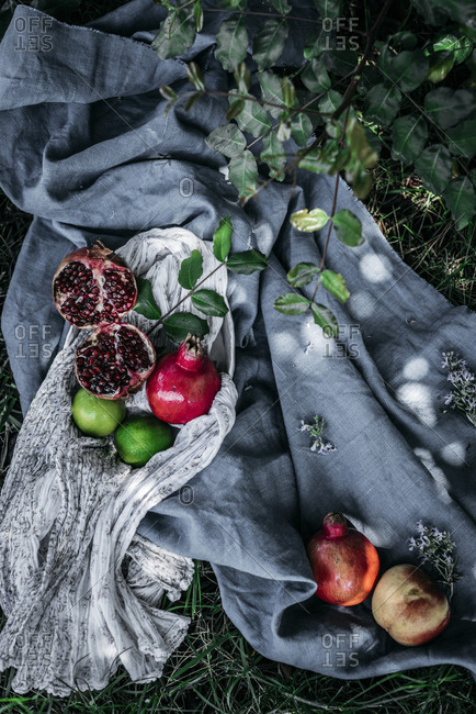 Bunch of assorted fresh fruits placed on pieces of cloth on green grass in nature