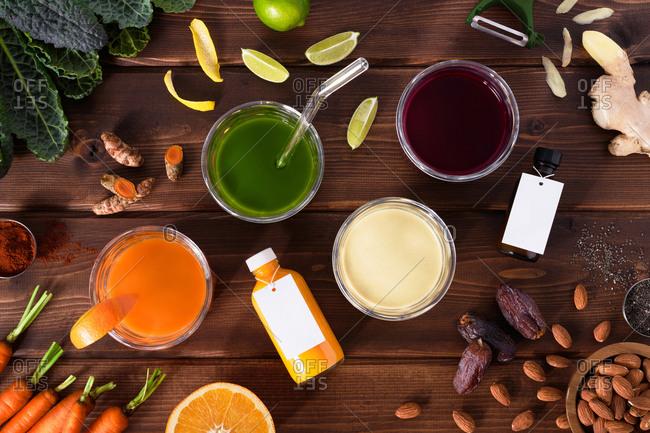 Variety of juice cleanse drinks