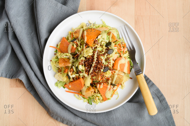 Shaved Brussels sprout and roasted root bowl
