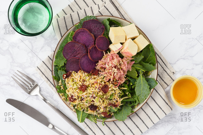 Purple sweet potato and tofu salad