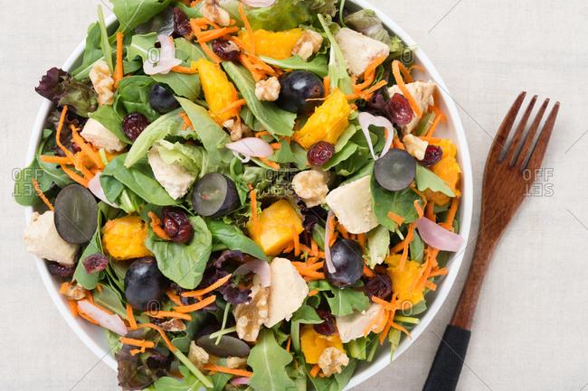 Autumn mixed greens salad