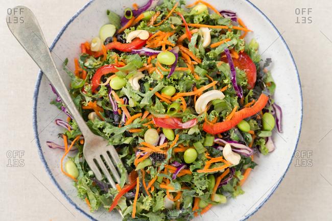 Kale and shredded vegetable salad