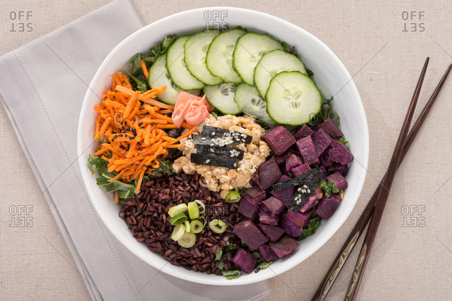 Spicy purple potato bowl