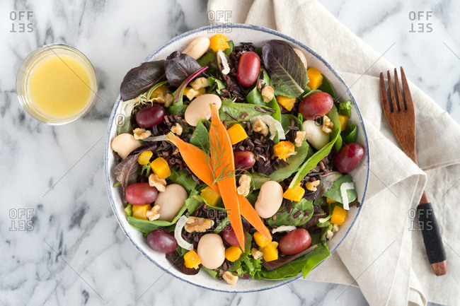 Fall mixed vegetable and bean salad
