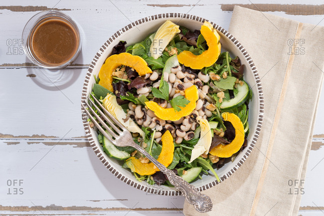 Black eyed pea and squash salad bowl