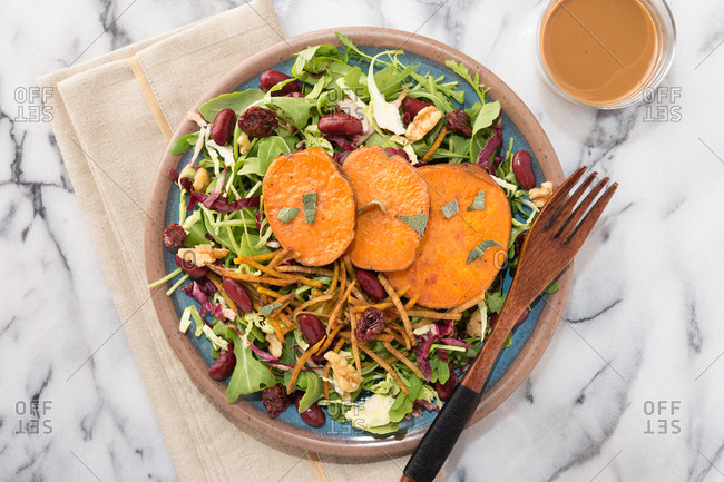 Overhead view of delicious sweet potato fall salad