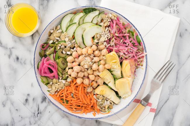 Shredded vegetable slaw in a bowl