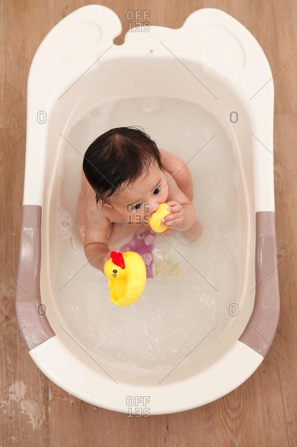 The baby a bath