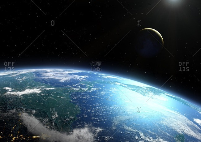 Earth and Moon from space, illustration