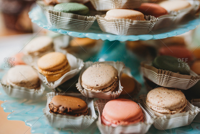 Close up of display of macarons