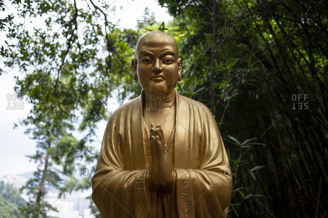 Hong Kong, China - September 8, 2018: Buddha statue at Ten Thousand Buddhas Monastery