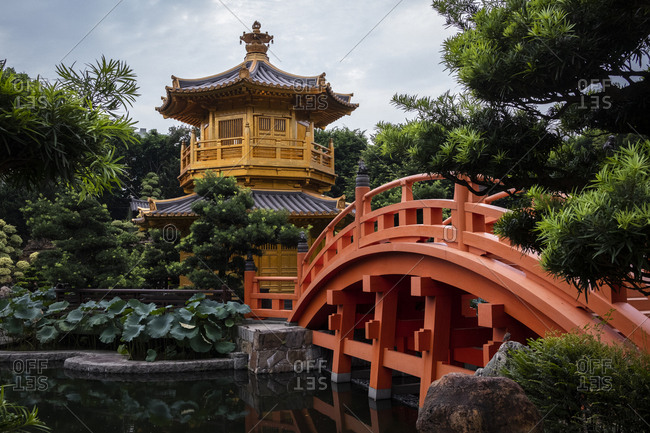 Hong Kong, China - September 8, 2018: Golden Temple at Nan Lian Garden