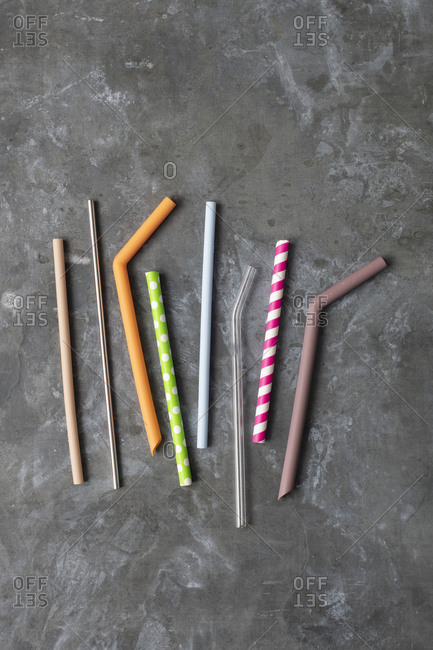 Assorted sustainable straws overhead