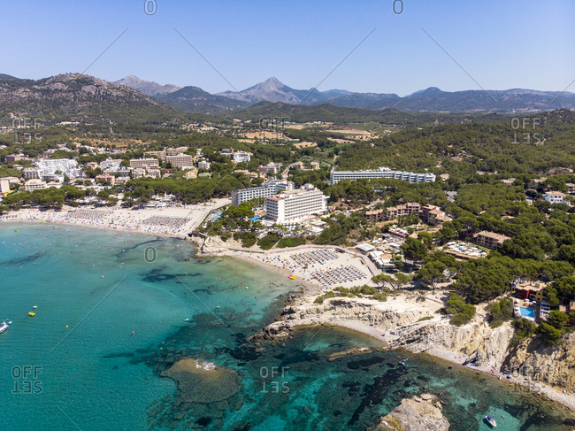 Spain- Majorca- Costa de la Calma- aerial view over Peguera with hotels and beaches
