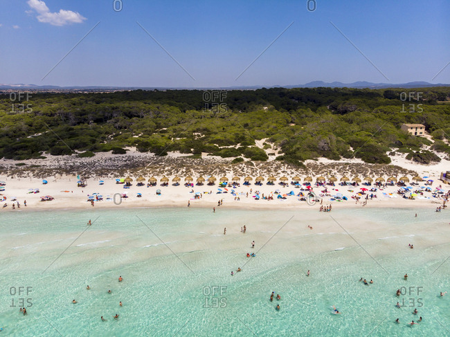 Spain- Balearic Islands- Mallorca- Sa Rapita- Ses Covetes- Aerial view of Playa es Trenc
